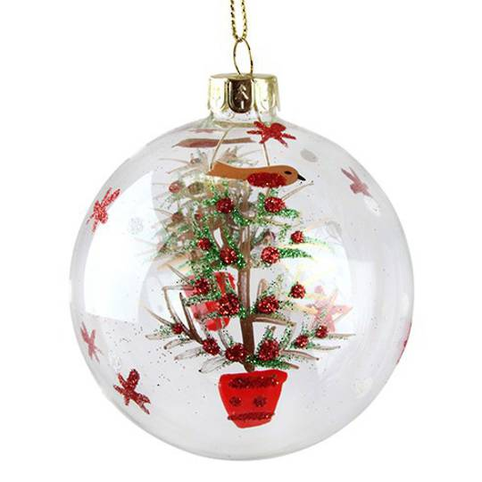 Glass Ball Clear, Robin in Tree 8cm